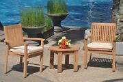 3pc Grade-a Teak Dining Set Adirondack Side Table 2 Leveb Stacking Arm Chair