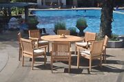 9pc Grade-a Teak Dining Set 60 Round Table 8 Leveb Stacking Arm Chair Outdoor