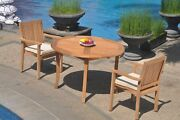 3pc Grade-a Teak Dining Set 48 Round Table 2 Leveb Stacking Arm Chair Outdoor