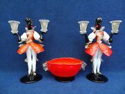 Pair Of Venetian Murano Glass Blackamoors And A Coupe In The Same Spirit Vintage