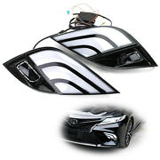 White/amber Led Daytime Lights W/ Sequential Turn Signal For 18-20 Toyota Camry