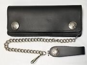 Buffalo Nickel Large Black Leather Trucker Wallet 7.5 X 3.5 12 Chain Usa Made