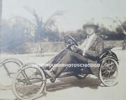 Antique Vintage Early Rare Cyclecar Palm Beach Florida Fl Old Stereoview Photo