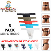 Mens G String Thong Sexy Underwear Stretch T Back Cotton Casual Everyday 5 Pack