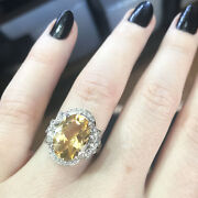 6.2 Ctw Natural Yellow Citrine And Diamond Solid 14k White Gold Bow Cocktail Ring