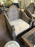 4 Large Wooden And Wicker Patio Chairs.
