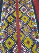 Primitive Antique 1930-1940s Wool Pile 6and0391andtimes 6and0394 Embroidered Panels Folk-art