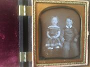 Great Gutta Percha Daguerreotype Of Brother And Sister In Thermoplastic Case