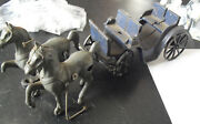 Antique Cast Iron Two Horse Drawn Carriage Stanley Toys 11 1/2 Long