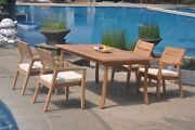 5pc Grade-a Teak Dining Set 94 Rectangle Table 4 Vellore Stacking Arm Chair