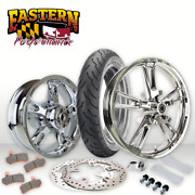 Reinforcer 21 Chrome Front Wheel Rotors Tire And Rear Wheel 09-19 Harley Touring