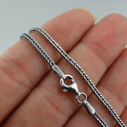 1.5mm Oxidized Square Foxtail Chain 925 Sterling Silver Antique Finish Necklace