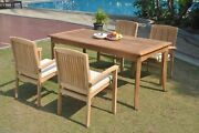 5pc Grade-a Teak Dining Set 60 Rectangle Table 4 Wave Stacking Arm Chair Patio