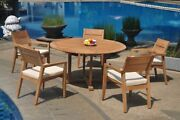 6pc Grade-a Teak Dining Set 60 Round Table 5 Vellore Stacking Arm Chair Outdoor