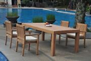 5pc Grade-a Teak Dining Set 86 Canberra Rectangle Table Leveb Stacking Arm Chair