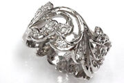 0.55 Ctw Natural Diamond Solid 14k White Gold Full Eternity Floral Paisley Ring