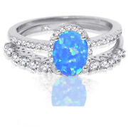 Oval Blue Fire Opal Wedding Engagement Cz Fashion Sterling Silver Ring Set