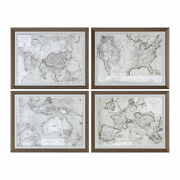 Set Of 4 Vintage Style Sepia Map Prints   World Wall Art Brown Antique Countries