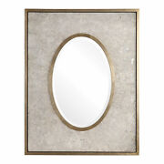 Aged Mottled Gray Silver Oval Rectangle Wall Mirror |54 Concrete Plaster Vanity