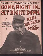 Come Right In Sit Right Down Make Yourself At Home 1909 Large Format Sheet Music