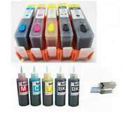 5 Refillible Hp 564 Ink Cartridges Refillable Ink For Officejet 4620 4622 + Ink