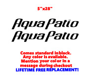 Pair Of 5 X 28 Aqua Patio Boat Hull Decals Marine Grade. Your Color Choice.