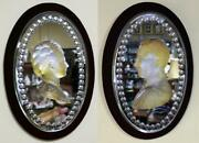 Pair Of Mid 19th C. Victoria And Albert Carved Crystal Mirrored Plaques