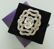 New Suzanne Somers 925 Sterling Silver Cubic Zirconia Flower Ring S7 Nwt 14grs.