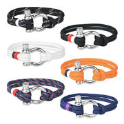 Wholesale Menand039s Paracord Rope Pu Wrapped U Shaped Stainless Steel Clasp Bracelet