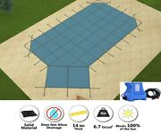 Gli Hyperlite Grecian Swimming Pool Safety Winter Cover W/ Left Step And Pump