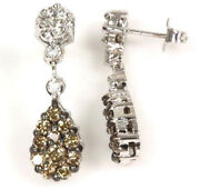 1.8 Ctw Natural Brown And White Diamond Solid 14k White Gold Tear Drop Earrings