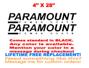 Pair Of 4 X 28 Paramount Boat Decals Marine Grade. Your Color Choice. 172