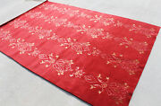 R1150 Deep Red Color Hand Crafted Tibetan Wool N Silk Rug 6and039 X 9and039 Made In Nepal