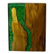 Green Resin Lucite And Teak Root Wood End Side Night Stand Table Rsnnsgrn-03