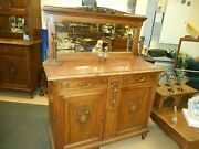 Antique American Quartersawn Tiger Oak Marble Top Sideboard With Mirror