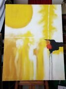 Large Yellow Abstract Painting Mid Century Bachman Very Old Harris Strong Label