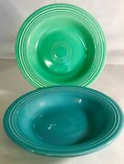 2 Homer Laughlin Vintage Fiesta Turquoise And Light Green Soup Bowls Deep Plate