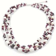 Garnet And Cultured Freshwater Pearl 3 Rows Necklace, 16 W/ Extender