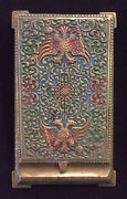 Antique Russian Brass Eagle Paper Weight Desk Enameled Notepad