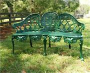 English Garden Bench Victorian Old Style Cane Seat Metal Green Paint