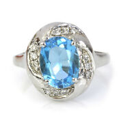 2.5 Ctw Natural Blue Topaz And Diamond Solid 14k White Gold Oval Cocktail Ring