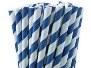 Blue And White Striped Paper Straws 8 20cm Biodegradable Compostable Dia 6mm