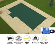 Gli Hyperlite Solid W/ Pump Rectangle Pool Safety Cover W/ Left 1' Offset Step