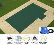 Gli Hyperlite Solid W/ Pump Rectangle Pool Safety Cover W/ Right 1' Offset Step