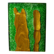 Green Resin Lucite And Teak Root Wood End Side Night Stand Table Rsnnsgrn-06