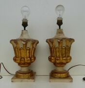 Antique Italian Gilded Carved Wooden Lamps Church Chapel Ornaments Early 19th