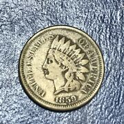 1859 Indian Head Cent Us Coin Penny - Clear Date Vg Copper Nickel One Cent