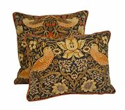William Morris - Strawberry Thief - Grape/gold - Cushion Covers Contrast Piped