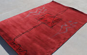 R14051 Contemporary Woolen Tibetan Area Rug 5' X 8' Wine Red Color Made In Nepal