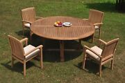 5pc Grade-a Teak Dining Set 72 Round Table 4 Wave Stacking Arm Chair Outdoor